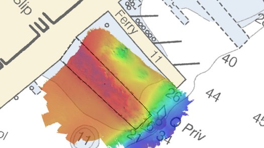 Multibeam echo sounder data of the submerged pier near Pier 11, East River, New York. A danger to navigation (DTON) report was submitted to the USCG for this area.