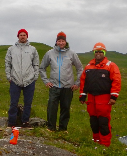 Kurt Mueller (center) and survey technicians on NOAA Ship Fairweather installed a GPS base station for horizontal control during a hydrographic survey project near South Kodiak Island, Alaska.