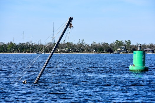 Sunken sailboat found by NOAA's navigation response team while surveying off Bear Pt, in Panama City.