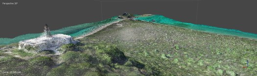 Isla Caja de Muertos lighthouse and view reconstructed using a SFM-generated dense point cloud.