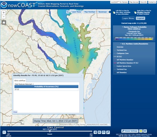 Depiction of NOS Vv probability of occurrence forecast guidance for Chesapeake Bay on nowCOAST map viewer.
