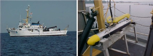 NOAA Ship Rude (left) and side scan sonar towfish (right) used during the response effort off Martha's Vineyard.