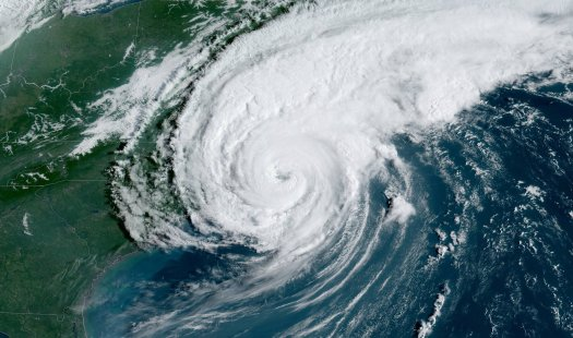Hurricane Dorian as it makes landfall over Cape Hatteras, N.C.