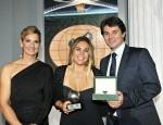ISAF Rolex World Sailor of the Year Awards Sofia Bekatorou-Kosmatopoulos (GRE), Blanca Manchón (ESP) and Arnaud Boetsch, Rolex SA