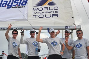 Ian Williams (Centre) takes his third World Match Racing Tour title. Photo: Chris Davies/WMRT