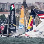 The Red Bull Sailing Team (R) of Austria snaps their mast in their Extreme 40 catamaran while in the lead of race two during day two of the seventh stop of the Extreme Sailing Series Series, Istanbul, Turkey on October 2nd 2015.