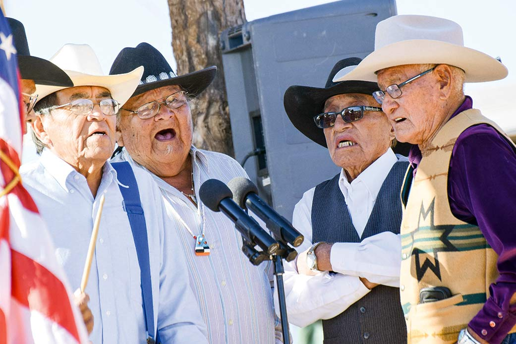 Navajo Times | Krista Allen A song and dance singing group performs at the 49th annual Western Navajo Fair song and dance on Saturday afternoon in Tónaneesdizí.