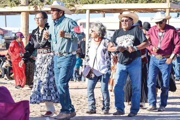 Navajo Times | Krista Allen Adults and young people alike compete in a round of skip dance during the 49th annual Western Navajo Fair on Saturday evening.