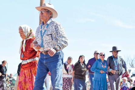 Navajo Times   Krista Allen Wearing matching jewelry, Mariano Lake, New Mexico, couple Dan Jim Nez and Louise Nez dance in a round of skip dance during the Elder Fest at the 28th annual Utah Navajo Fair on Oct. 27 in Bluff, Utah.