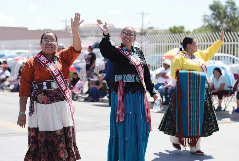 Navajo Times | Ravonelle Yazzie This year's Miss Navajo Nation contestants are, from left, Kayla Martinez, Summer Jake, and Autumn Montoya walk in the parade on Aug. 11 at the Gallup Inter-Tribal Indian Ceremonial.