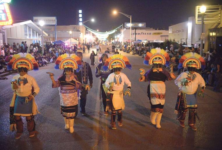 Navajo Times | Donovan Quintero The Kallestewa Dancers, led by Mangaysha Kallestewa, perform on Aug. 9 during the 97th annual Gallup Inter-Tribal Indian Ceremonial night parade in downtown Gallup.