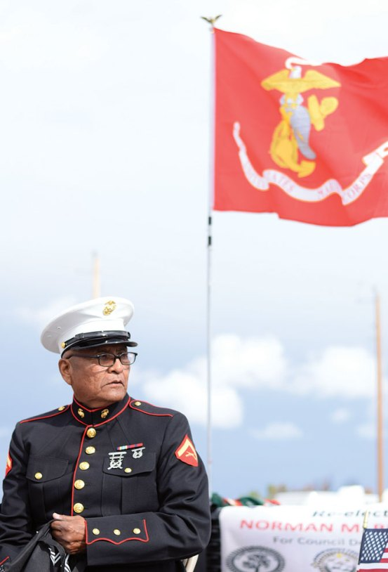 Navajo Times | Ravonelle Yazzie Marine Corps veteran Mark Begay participates in the parade in Pine Hill, N.M., during the Ramah Navajo Fair and Rodeo.