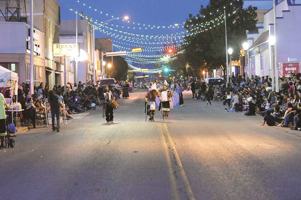 Navajo Times | Donovan Quintero A large crowd is gathered to watch the night parade Aug. 9 during the Gallup Inter-Tribal Indian Ceremonial.