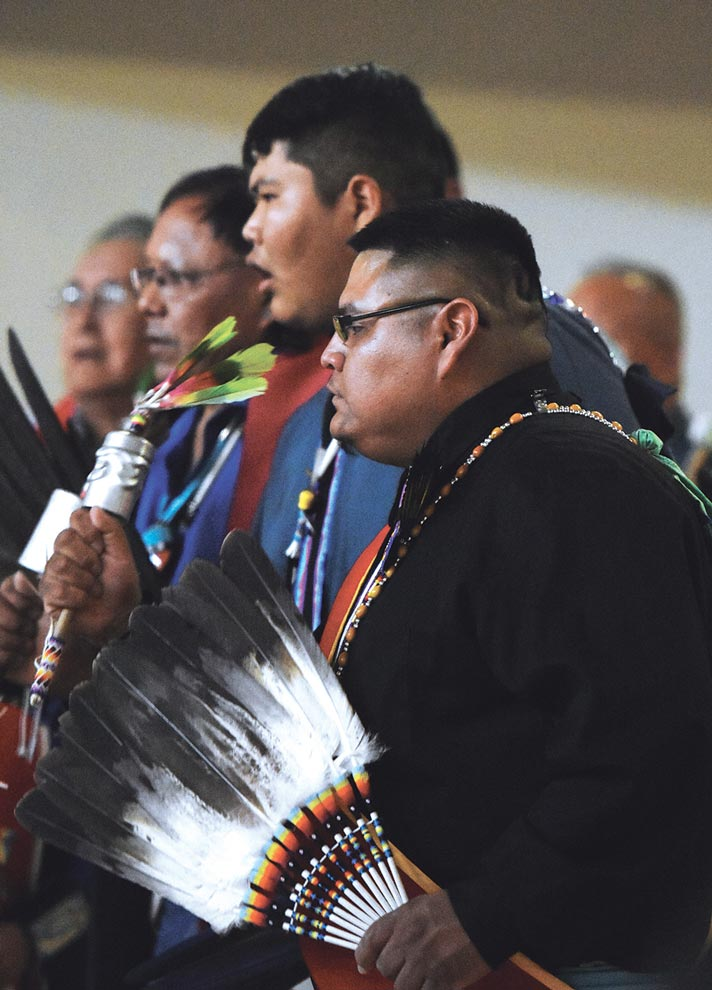 Navajo Times   Donovan Quintero Gourd dancers dance to the singing of the singers during a Veterans Day Gourd Dance in Fort Defiance on Sunday.