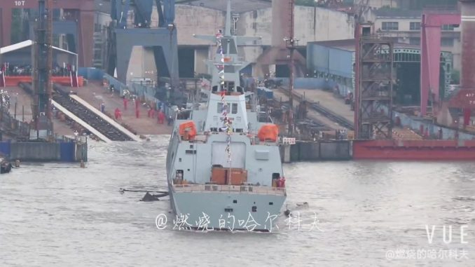 Chinese Shipyard Launches 1st Type 054 AP Frigate for Pakistan Navy
