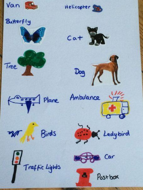 Example of the 'Spot it' kids bingo game