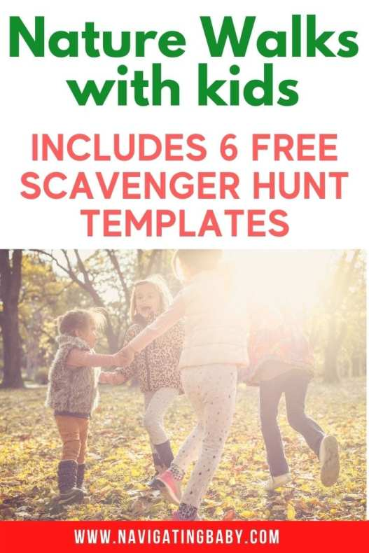 Nature Walks with kids Scavenger Hunt Templates