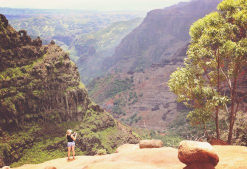 A steep canyon view (and stranger)