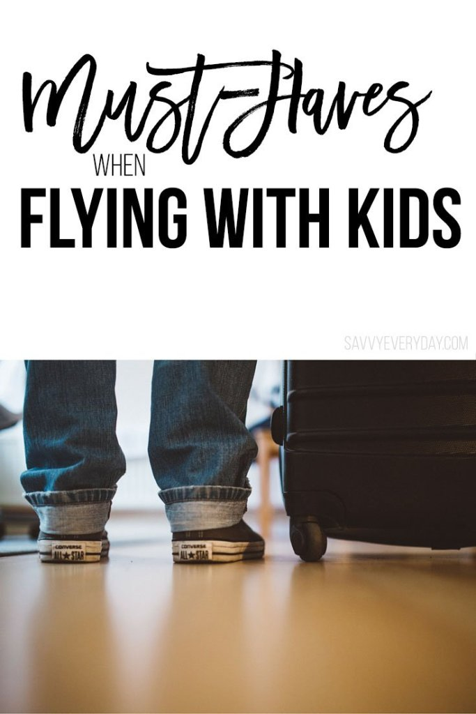 child next to luggage in collage for flying with littles