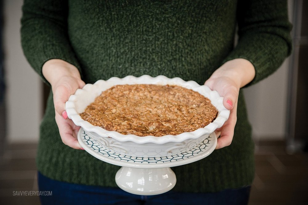 holding apple crumble