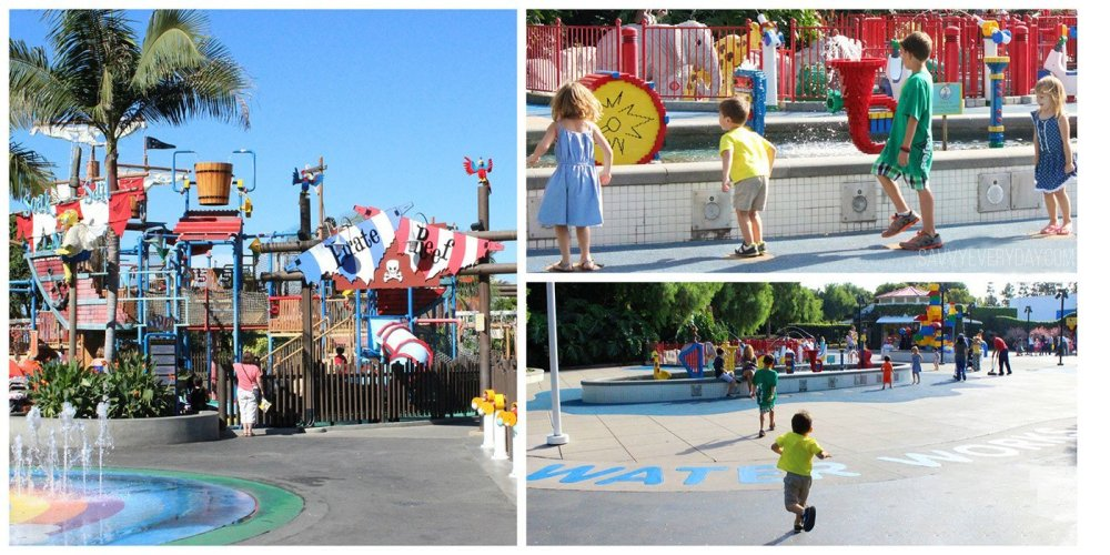 collage of fun water activities at legoland