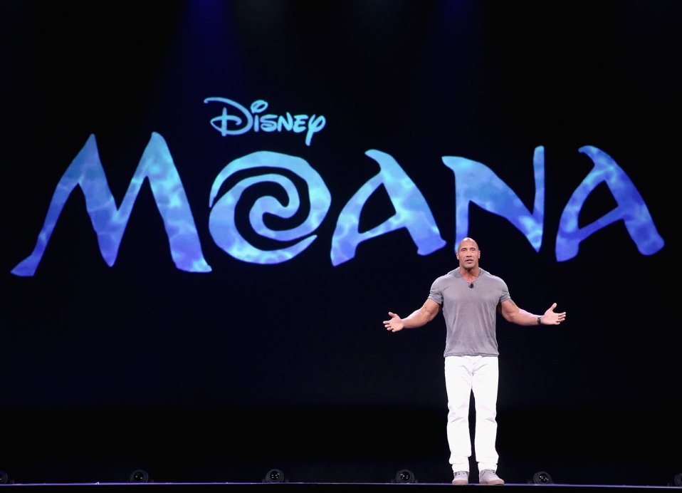 "Actor Dwayne Johnson talks about MOANA in ""Pixar and Walt Disney Animation Studios: The Upcoming Films"" presentation at Disney's D23 EXPO 2015. Photo by Jesse Grant/Getty Images for Disney"