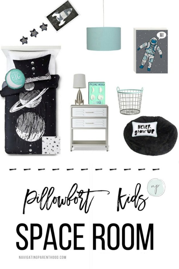 collage of bedroom items for a kids space bedroom