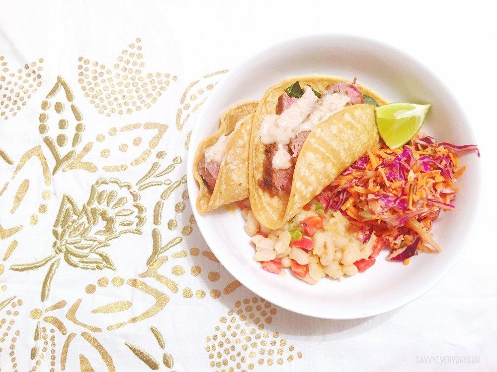 Green Chef Harissa Steak Tacos Smashed beans, ginger slaw, lime-dressed kale