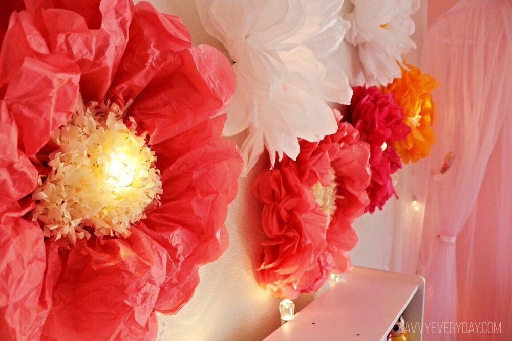 wall of glowing flowers