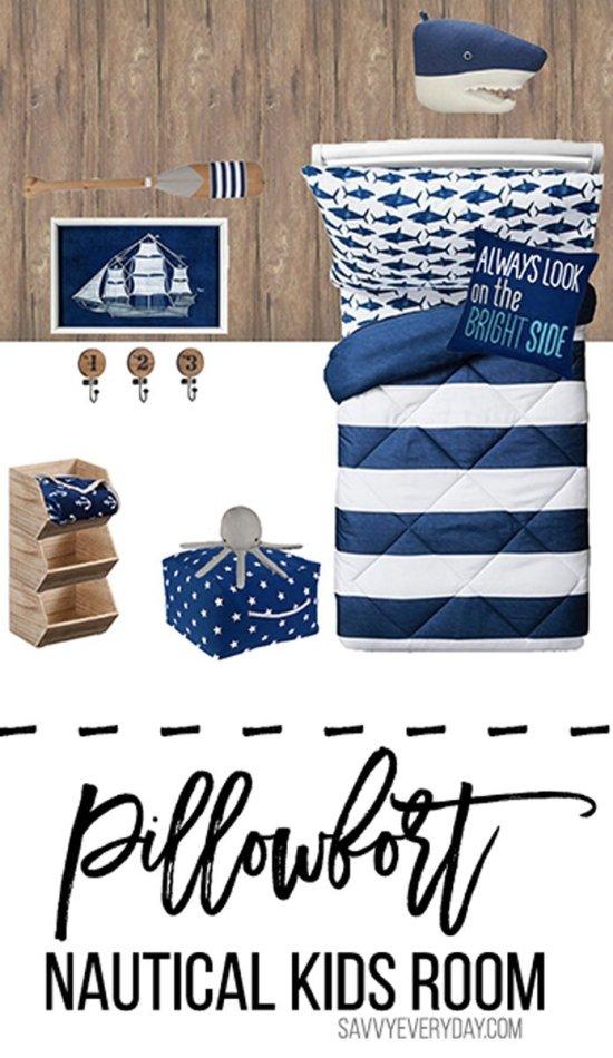 Pillowfort Inspired Nautical Kids Room