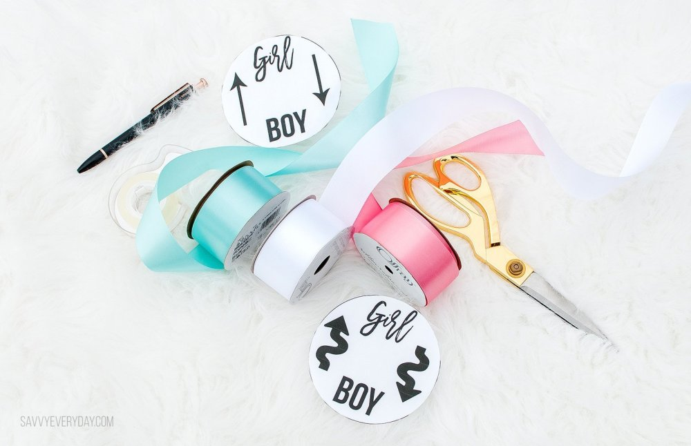 materials needed for ribbon gender reveal