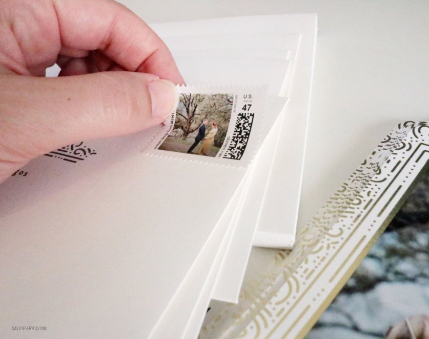 applying custom holiday stamp