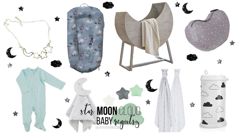 Star Moon and Cloud Baby Registry Roundup Collage Image