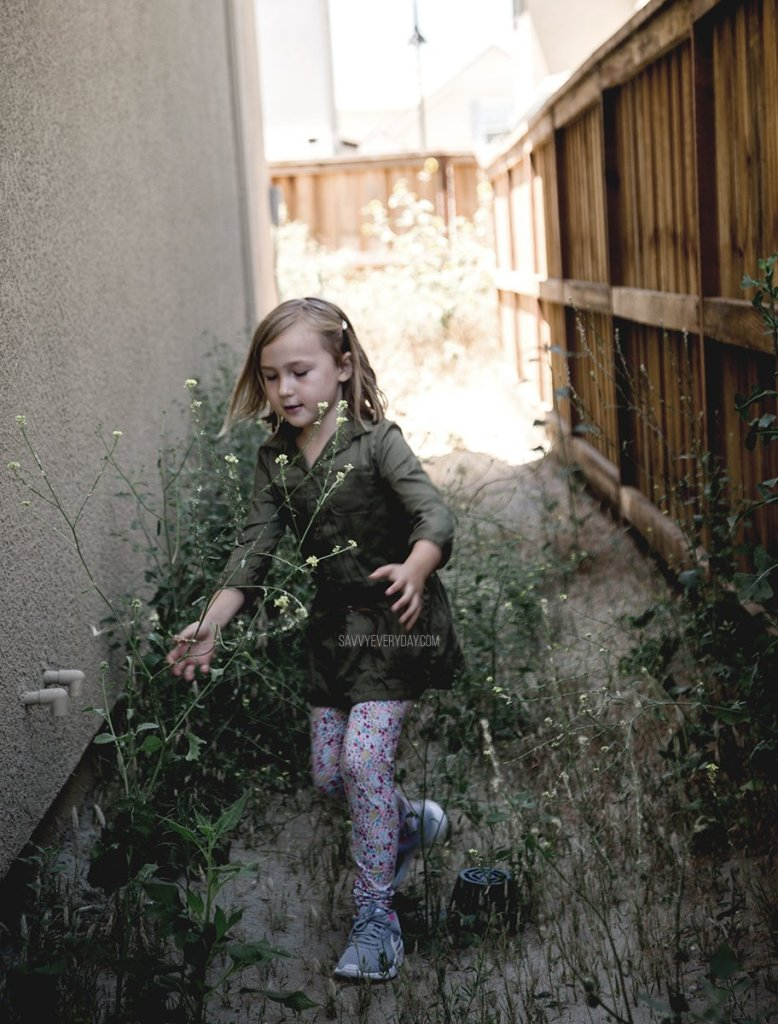 walking through side yard weeds