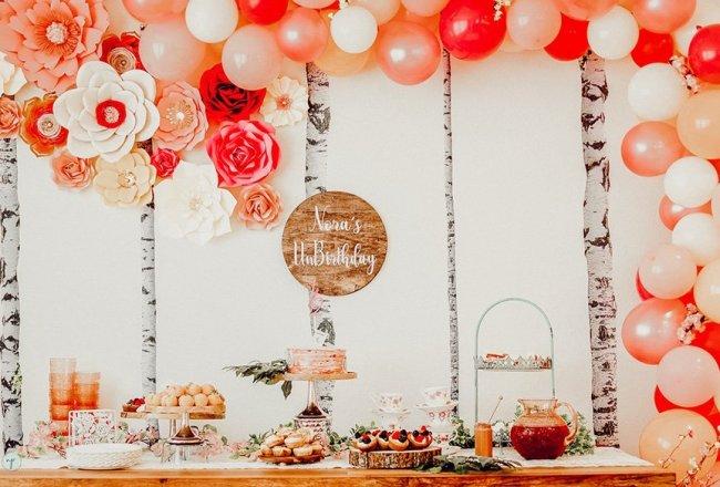 Wonderland half birthday dessert table