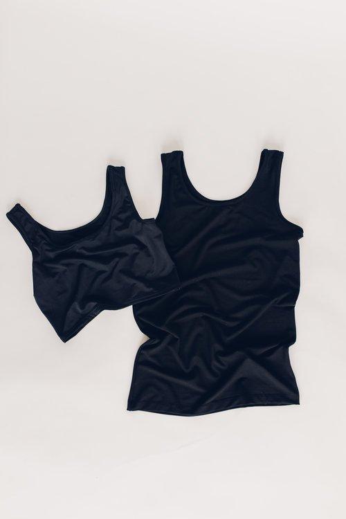Black nursing tank top and nursing bra