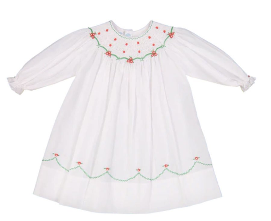 White baby dress with green and red embroidery