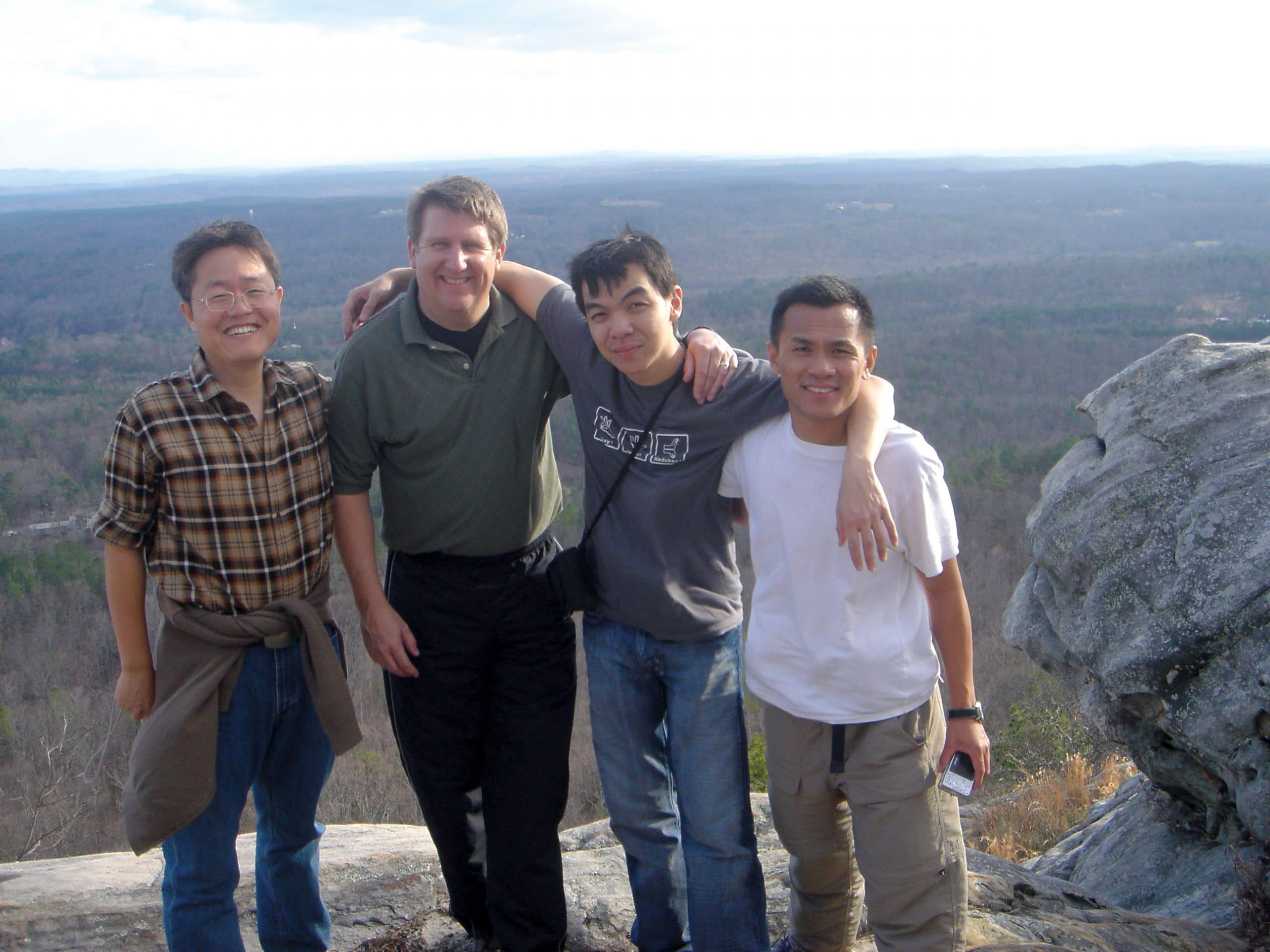 Hiking and exploring the great outdoors helps Navigator Paul Slay, second from left, build friendships with international students and demonstrate to them the love of Christ.
