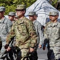 Prescott, Arizona, USA - November 11, 2017: Army ROTC marching in the Veterans Day Parade
