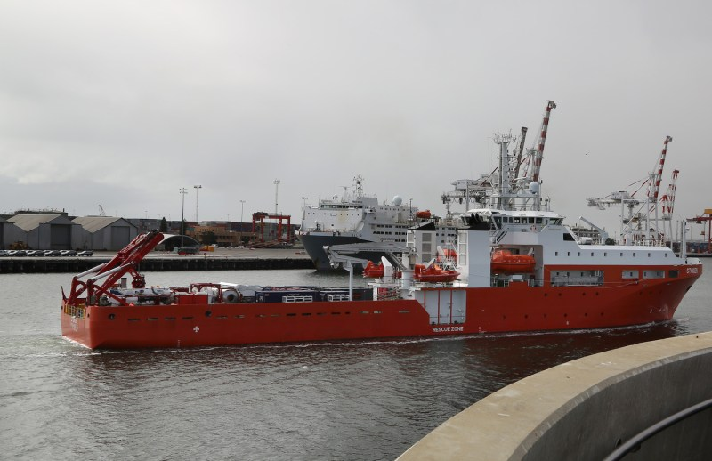 The Rescue Gear Ship, MV Stoker, sails into the Port of Fremantle.