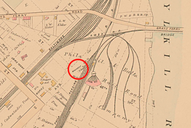 Map of West Philadelphia (Baist, 1886). Red circle: Newkirk Viaduct Monument.