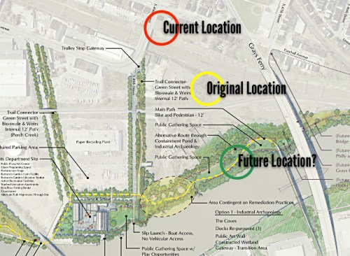 Today: Current, original, and potential locations for the 1838 Newkirk Viaduct Monument. (Graphic: Philadelphia Parks and Recreation and Andropogon Associates)