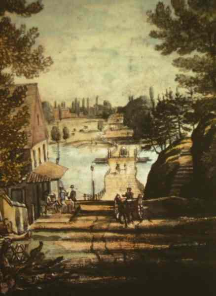 """1816: A painting, """"Lower Bridge on Schuylkill at Gray's Ferry"""" (Joshua Rowley Watson), looks east past Gray's Tavern to the pontoon bridge first erected in 1777."""