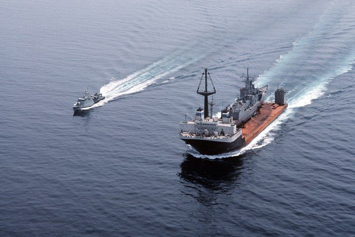One month and 8,100 miles later, <i>Roberts</i> approaches Rhode Island's Narragansett Bay on 31 July 1988. (U.S. NAVY PHOTO BY PH2 ELLIOTT)