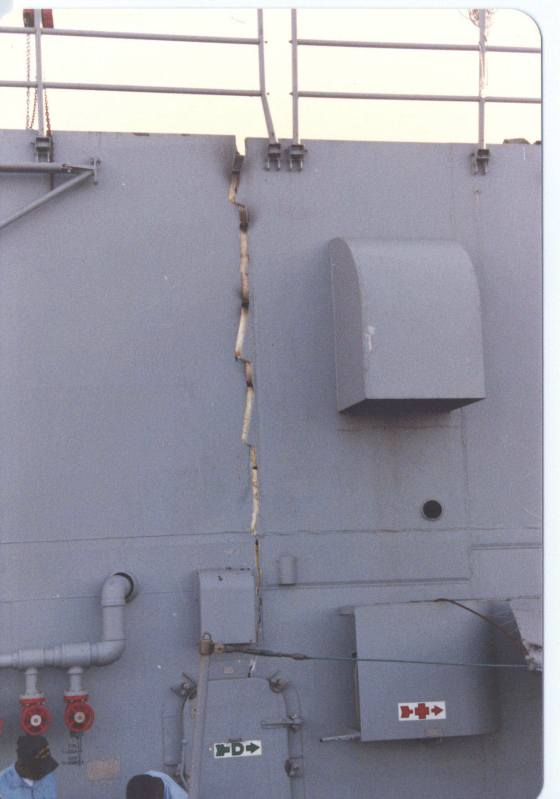 Superstructure crack (Photo by Lt. (j.g.) Robert Chambers)