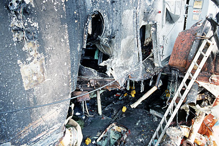 An internal view of the damage to the USS Stark in the Persian Gulf in 1987.