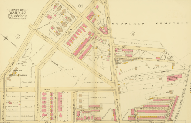 1892: Property map showing future Clark Park and vicinity, including lower Mill Creek (Bromley/UPenn)