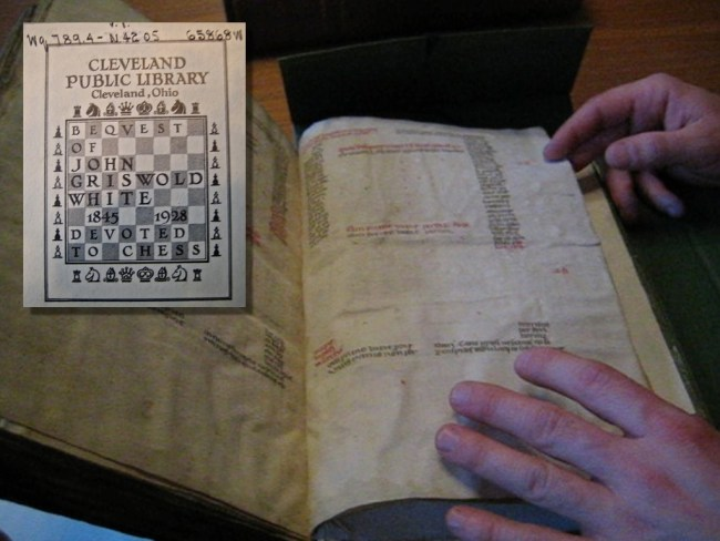 600-year-old chess problems, in Latin, on vellum, in Cleveland