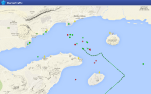 MV Maersk Tigris' last voyage track, as of 4.29.15 (Credit: MarineTraffic)