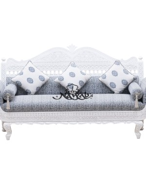 Polish Pu Polish Color White Fabric Color Grey Printed Carved Sofa Set